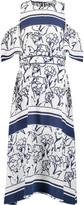 Tanya Taylor Shiloh cold-shoulder printed silk-crepe midi dress