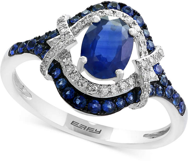 Effy Royale Blue by Sapphire (1-1/5 ct. t.w.) and Diamond (1/8 ct. t.w.) Ring in 14k White Gold