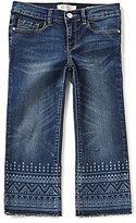 Jessica Simpson Big Girls 7-16 Printed-Hem Crop Flare Jeans