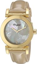 Salvatore Ferragamo Women's 'LADY' Quartz Stainless Steel and Leather Casual Watch, Color:Beige (Model: FP1760016)