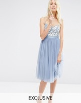 Needle & Thread Embroidered Bust Tulle Midi Dress