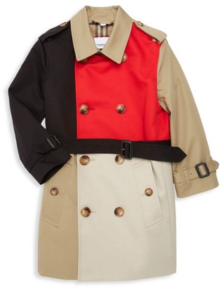 Burberry Little Kid's & Kid's KB6 Adriel Colorblock Double-Breasted Trench Coat