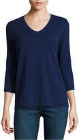 ST. JOHN'S BAY St. John's Bay 3/4 Sleeve V Neck T-Shirt-Womens