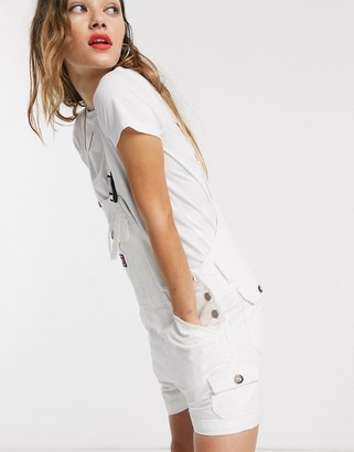 Tommy Jeans dungaree shorts in white