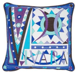 Emilio Pucci Vivara-print Cotton-terry Cushion - Blue Multi