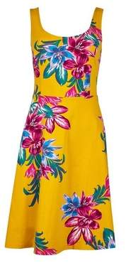 Dorothy Perkins Womens Yellow Floral Print Seam Fit And Flare Dress, Yellow