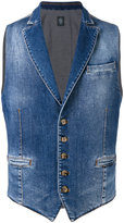 Eleventy stonewashed denim waistcoat - men - Cotton/Spandex/Elastane - L