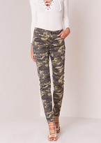 Missy Empire Cassie Green Camouflage Skinny Jeans