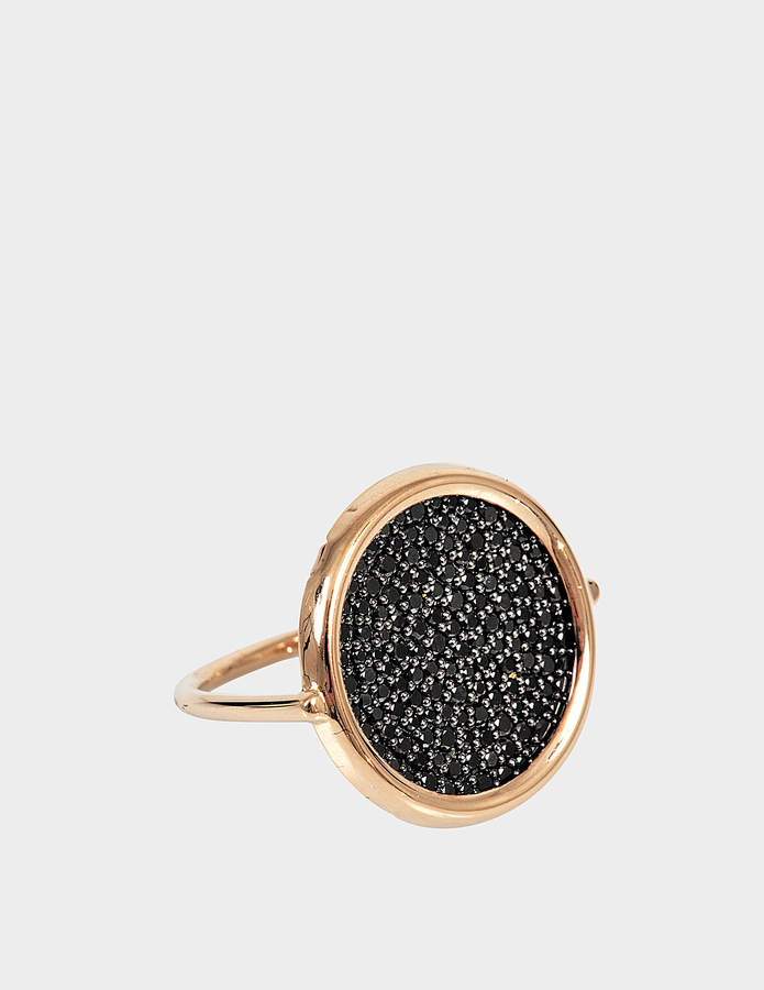 ginette_ny Large Black Diamond 18-karat rose gold Disc ring