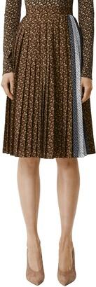 Burberry Marine Pleated Monogram Stripe Skirt