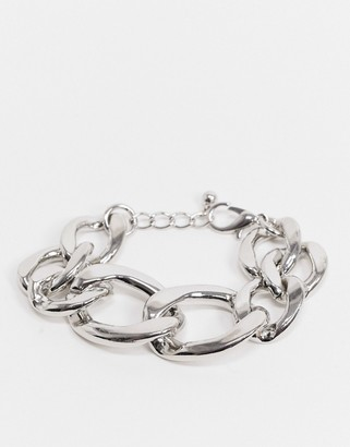 ASOS DESIGN bracelet in chunky link curb chain in silver tone
