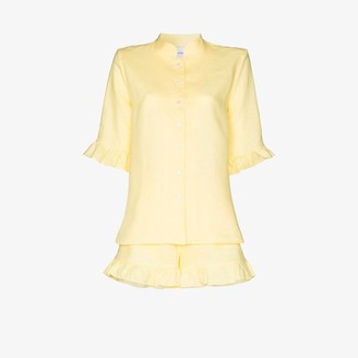 Sleeper Ruffled Linen Pyjamas