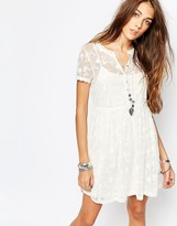 Pull&Bear Embroidered Mesh Dress