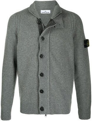Stone Island Button-Up High-Neck Jumper