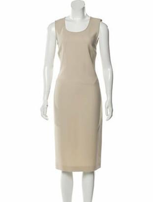 Dolce & Gabbana Virgin Wool Midi Dress Tan