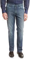 Brioni Dark-Wash Denim Straight-Leg Jeans, Blue