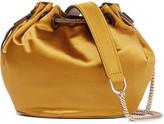 Diane von Furstenberg Love Power Mini Leather-trimmed Satin Bucket Bag - Mustard
