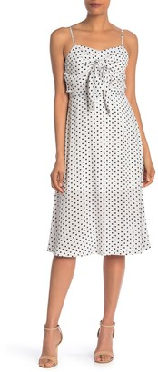 J.o.a. Front Knot Polka Dot Sleeveless Dress