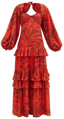 Johanna Ortiz Festive Spirit Palm Tree-print Crepe Maxi Dress - Red Multi