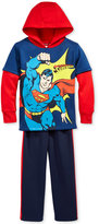 Nannette 2-Pc. Layered-Look Superman Hoodie & Pants Set, Little Boys (2-7)