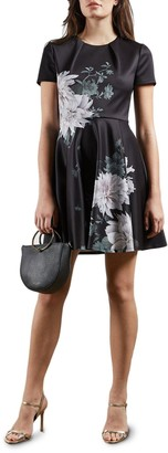 Ted Baker Clove Printed Skater Dress - Black