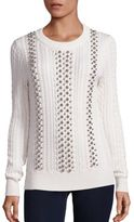 MICHAEL Michael Kors Beaded Cable-Knit Sweater