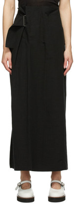 Y's Ys Black Linen and Cotton Asymmetric Long Skirt