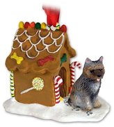 Eyedeal Figurines CAIRN TERRIER Brindle Dog NEW Resin GINGERBREAD HOUSE Christmas Ornament 53C