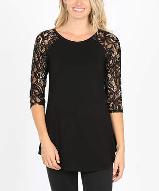 Zenana Women's Tunics BLACK_IPB - Black Lace-Sleeve Raglan Tunic - Women