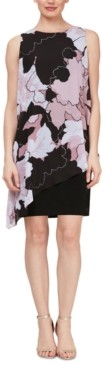SL Fashions Printed Chiffon Overlay Dress