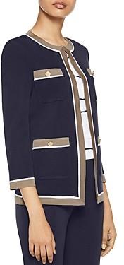 Misook Contrast Trim Classic Knit Jacket