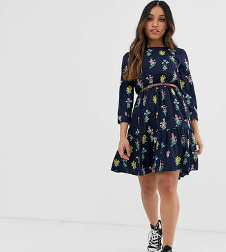 Yumi Petite belted smock dress in floral print