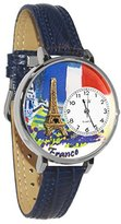 Whimsical Watches Women's U1420006 Unisex Silver France Navy Blue Leather And Silvertone Watch