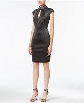 Jax Mock-Neck Metallic Sheath Dress