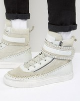 Religion Washed Field Hi Top Trainers