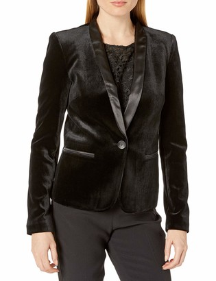 James Jeans Women's Tuxedo Jacket with Satin Leather Lapels