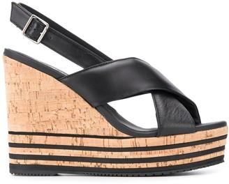 Hogan Sling-Back Wedge Sandals