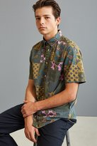 Urban Outfitters Patchwork Paisley Short Sleeve Button-Down Shirt