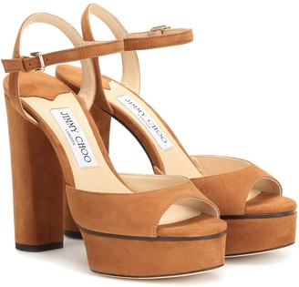 Jimmy Choo Peachy 125 suede plateau sandals