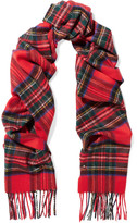 Johnstons of Elgin Tartan Cashmere Scarf - Red