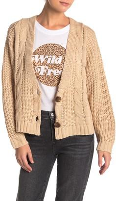 Cotton Emporium Cable Knit V-Neck Crop Cardigan