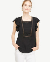 Ann Taylor Lacy Ruffle Sleeve Top