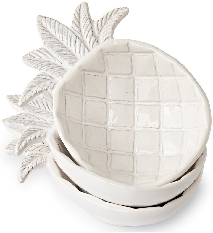 Mud Pie 3-Piece Stackable Ceramic Pineapple Bowl Set