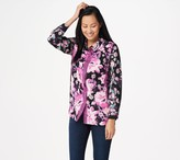 Bob Mackie Lace and Floral Printed Woven Blouse