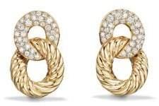David Yurman Belmont Extra-Small Curb Link Drop Earrings with Diamonds in 18K Gold