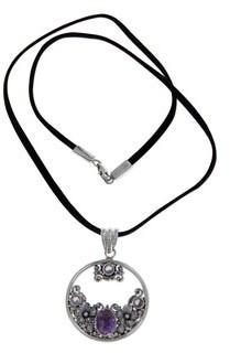 Novica Sterling Silver 'Frangipani Moon' Amethyst Necklace