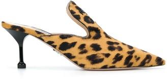 Prada Leopard Print Pointed Toe Mules