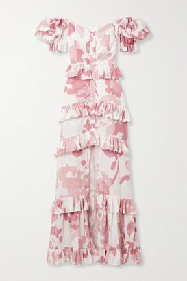 Caroline Constas Iva Off-the-shoulder Ruffled Printed Cotton-blend Poplin Gown - Ivory