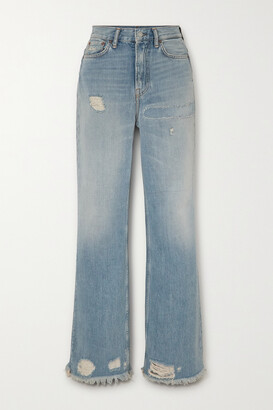 Acne Studios - Distressed High-rise Bootcut Jeans - Blue