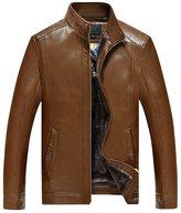 Liveinu Men's Vintage PU Leather Rider Jacket Coats 4XL